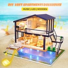 Kit de muebles de casa de muñecas para niños, casa de muñecas 3D en miniatura, Loft, LED, juguetes para niños, regalos de cumpleaños y Navidad