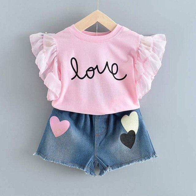 Set Pakaian Lengan Pendek dan Celana Pendek Anak Perempuan 5