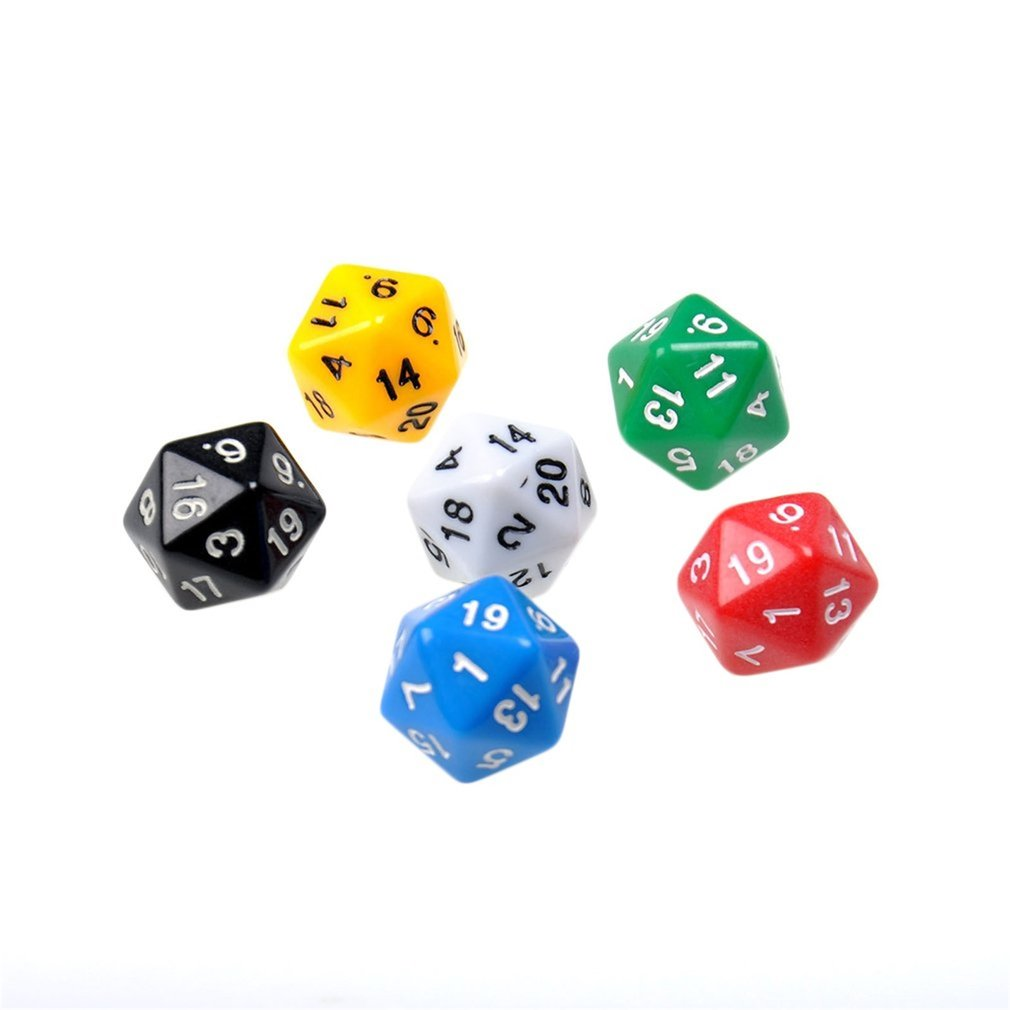 6pcs/set D20 Dice Opaque & Six Colors Resin Polyhedral  For Dungeons & Dragons Multi Color Gaming Games Accessory