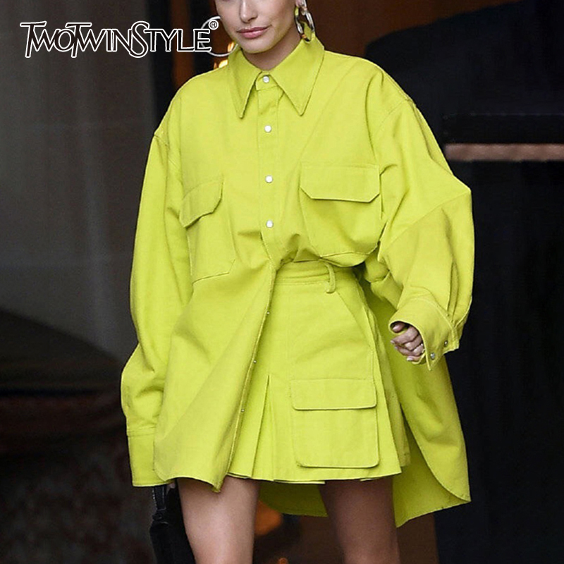TWOTWINSTYLE Safari Style Two Piece Set For Women Lapel Collar Pocket Shirts High Waist Skirts Oversized Female Suit 2020 New