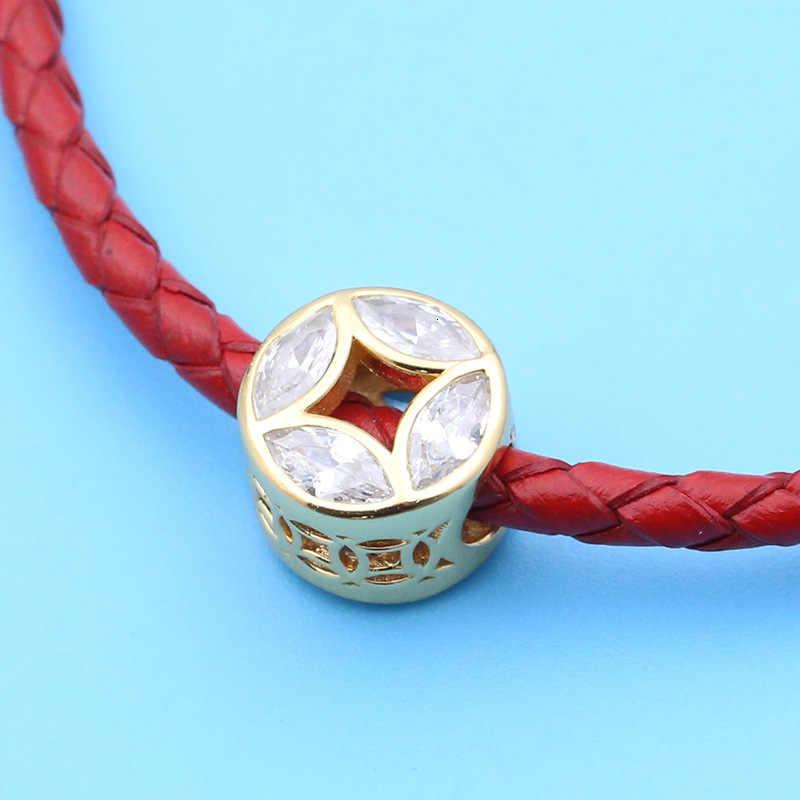 Подлинная 925 пробы Серебряная монета Good Fortune Шарм Желтый CZ Бисера Подходят Европейские бисерные Подвески Браслеты Ювелирные изделия
