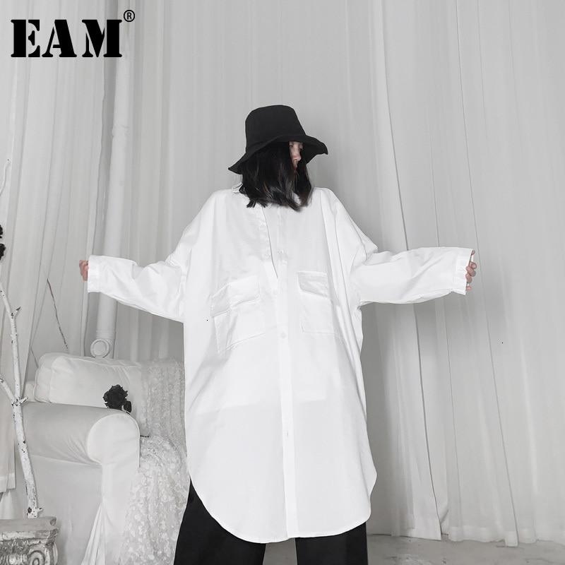[EAM] Women White Big Pocket Big Size Long Blouse New Lapel Long Sleeve Loose Fit Shirt Fashion Tide Spring Autumn 2020 19A-a66