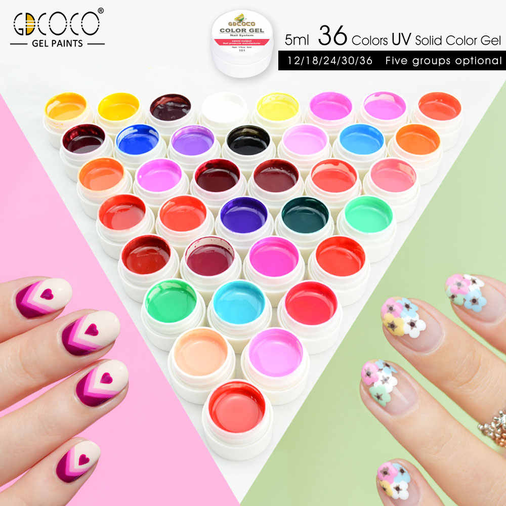 Gdcoco fourniture d'ongles art des ongles manucure couleur pure vernis à ongles gel canny peinture tremper led uv gel ongles vernis lampe gel couleur
