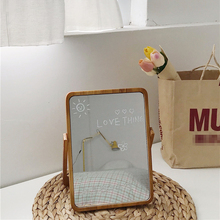 Cutelife INS Wood Standing Make-up Glass Mirror Decorative Dressing Small Nordic Mirror Table Vintage Bedroom Living Room Mirror