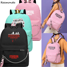 Stranger Things Backpack Canvas Bag Teen Schoolbag Travel Bags Girls Mochila Feminina Notebook Bags Boys Eleven Cosplay Bag cheap REEMONDE Accessories Movie TV Unisex Adult Other Costumes Polyester Stranger Things school bag Storage bag Pencil case