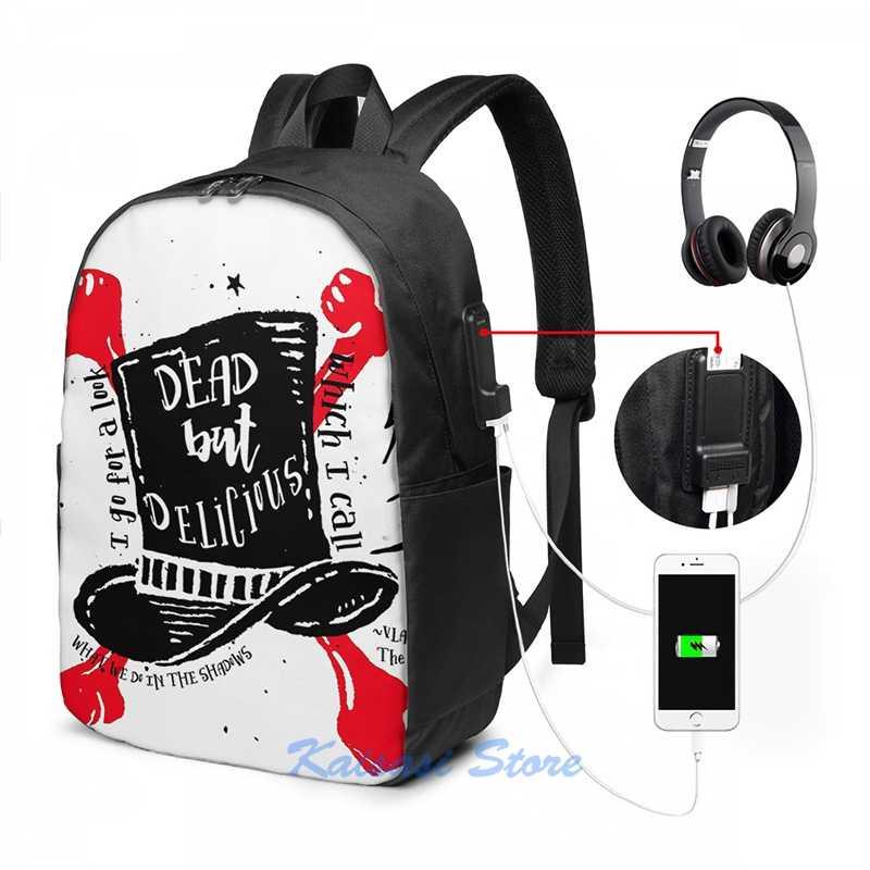 Morto, mas delicioso o que fazemos nas sombras carga usb mochila masculino sacos de escola saco de viagem bolsa para portátil