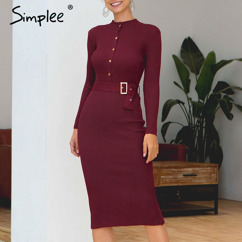 Simplee Sexy High Waist Trumpet Dress Elegant Women O-neck Long Sleeve Dress Slim Fit Solid Office Ladied Autumn Knitted Dress