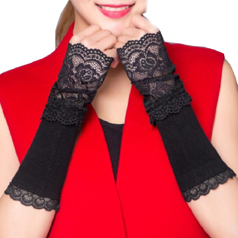 Winter Arm Warmer Hand Warmer Fingerless Long Gloves Women Lace Arm Sleeve Arm Warmer Fashion Elegant Arm Warmer High Qualityr