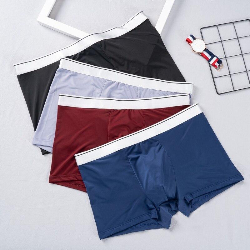 Boxer intimo uomo Boxer uomo pantaloncini mutandine pantaloncini traspiranti bordo argento di alta qualità nuovo Boxer confortevole in seta ghiaccio maschile