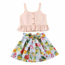 2020 New 1-6Years Toddler Baby Girl Sling Ruffles Tops + Fruit Skirt Summer Outfits Clothes Set(China)