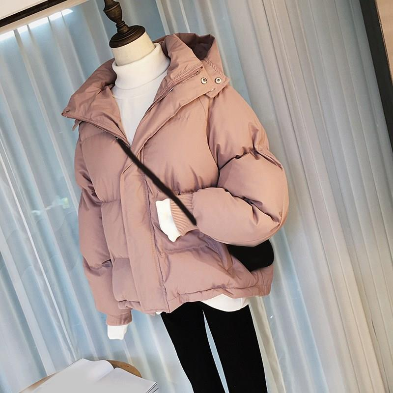 2019 Winter Women Short Parka Coat Solid Casual Long Sleeve Hooded Female Warm Thick Outwear