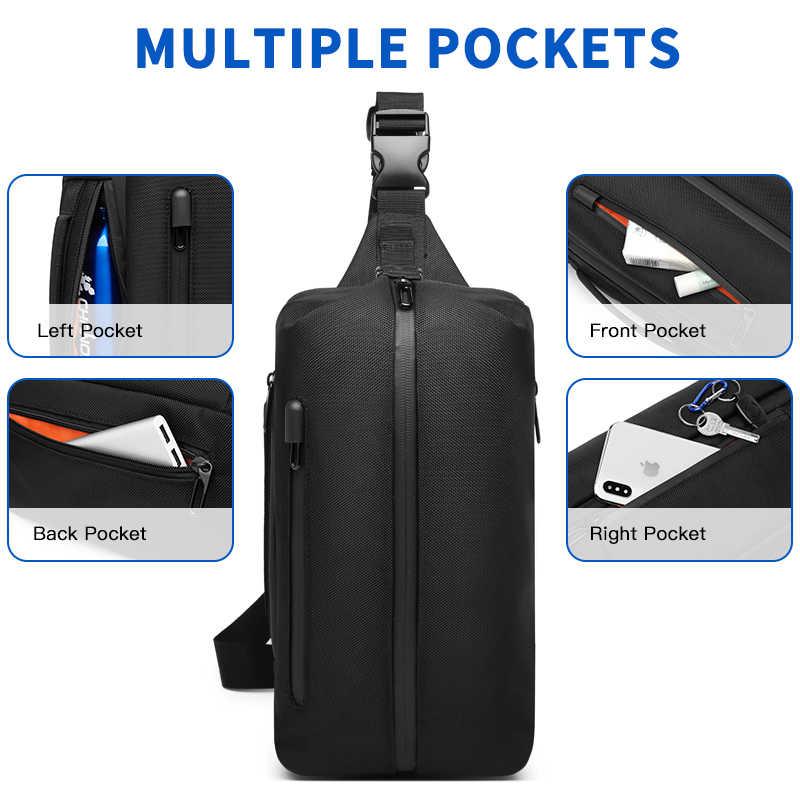 OZUKO Pria Crossbody Casing USB Pengisian Tahan Air Tas Olahraga Luar Ruangan Ransel untuk Remaja Pria Messenger Tas Bahu