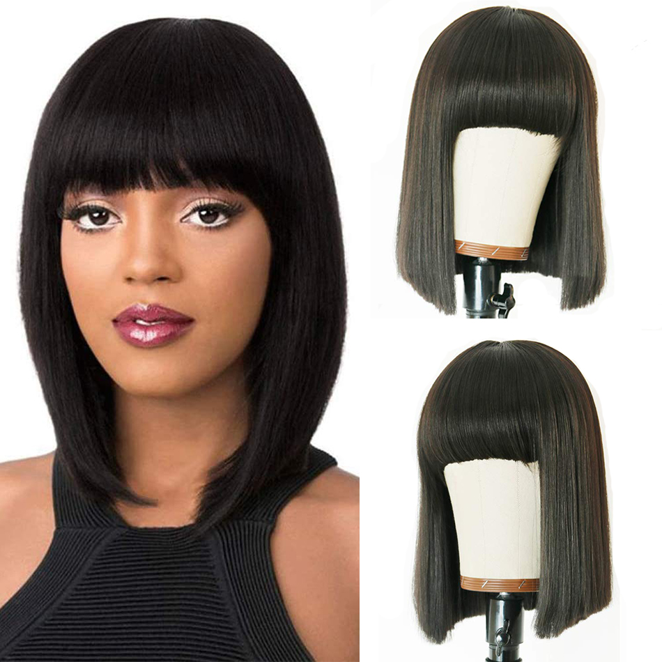 Miss lisa curto bob perucas com franja em linha reta perucas de cabelo humano para preto mulher completa máquina não perucas do laço cor natural não remy