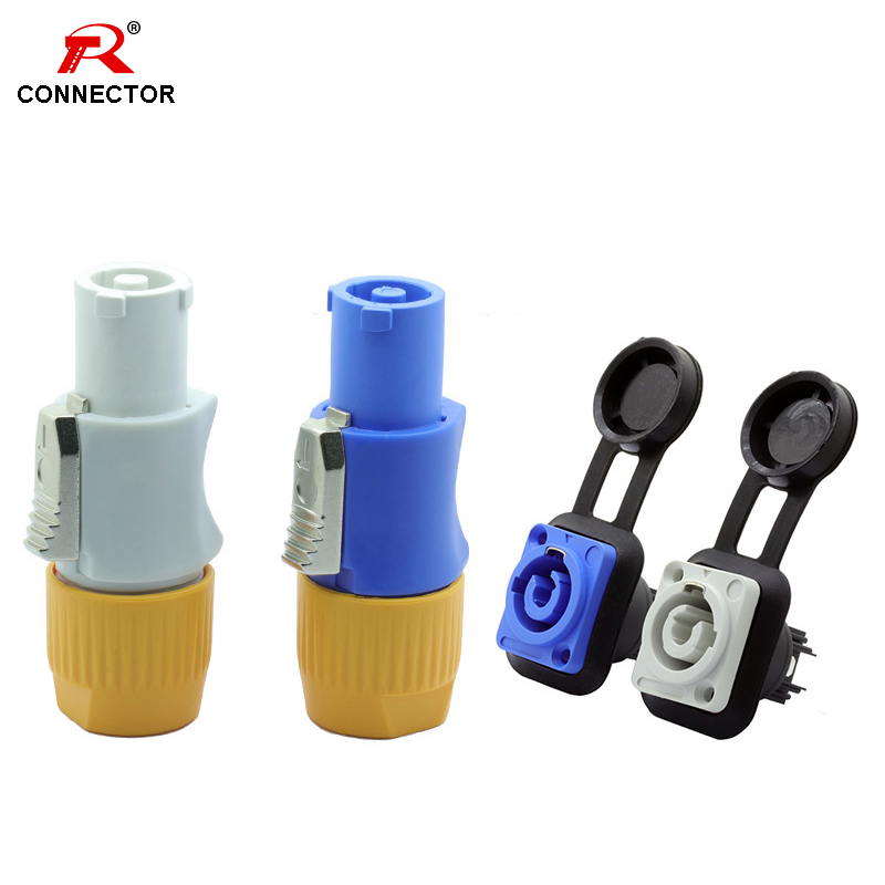 4sets Waterproof IP65 Power Connector, 3Pins NAC3FCA 250V/20A AC Cable Power Connector, Male Plug + Female Chassis Adapter