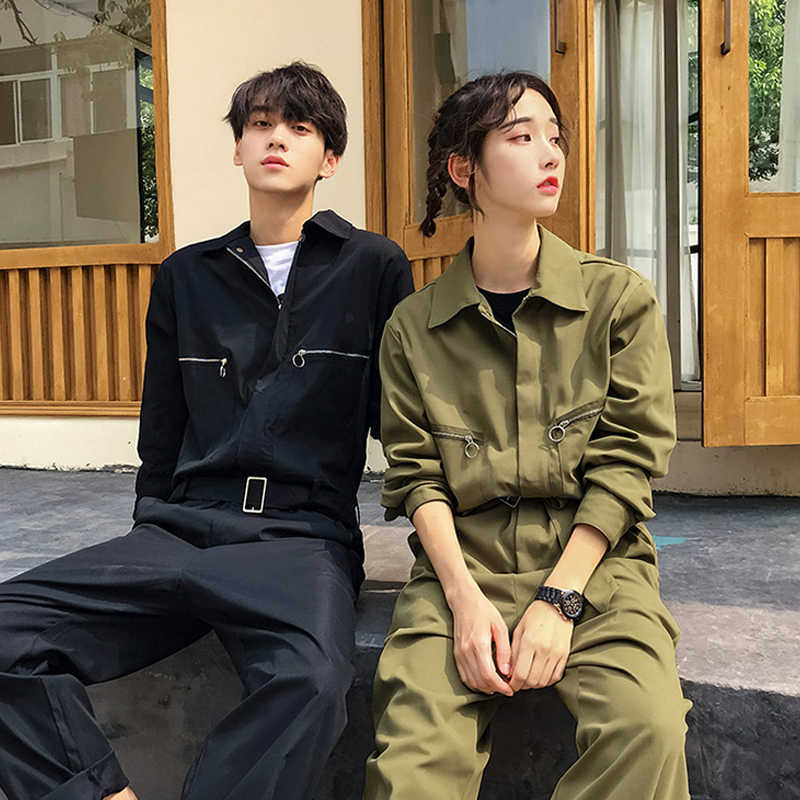 Men Women Long Sleeve One Piece Jumpsuit Black Army Green Coverall Mens Autumn Spring Cargo Pants Suit Hip Hop Male Overalls
