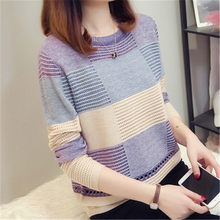 Spring Autumn Women Sweater Korean Color Matching Loose Striped Long-sleeved Pullover Knitwear Autumn Hollow Sweater(China)