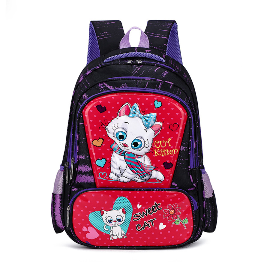 Girls Bears Primary Schoolbags Backpack Orthopedic Kids Cartoon Cat Printing School Bags Waterproof Knapsack Mochila Escolar New