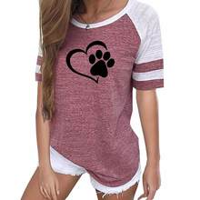 2019 Drop Shipping Women T-shirt Summer Casual Cute Dog Paw Print Top Tee Pink Green Gray Black Slim T-shirt Women Clothing(China)