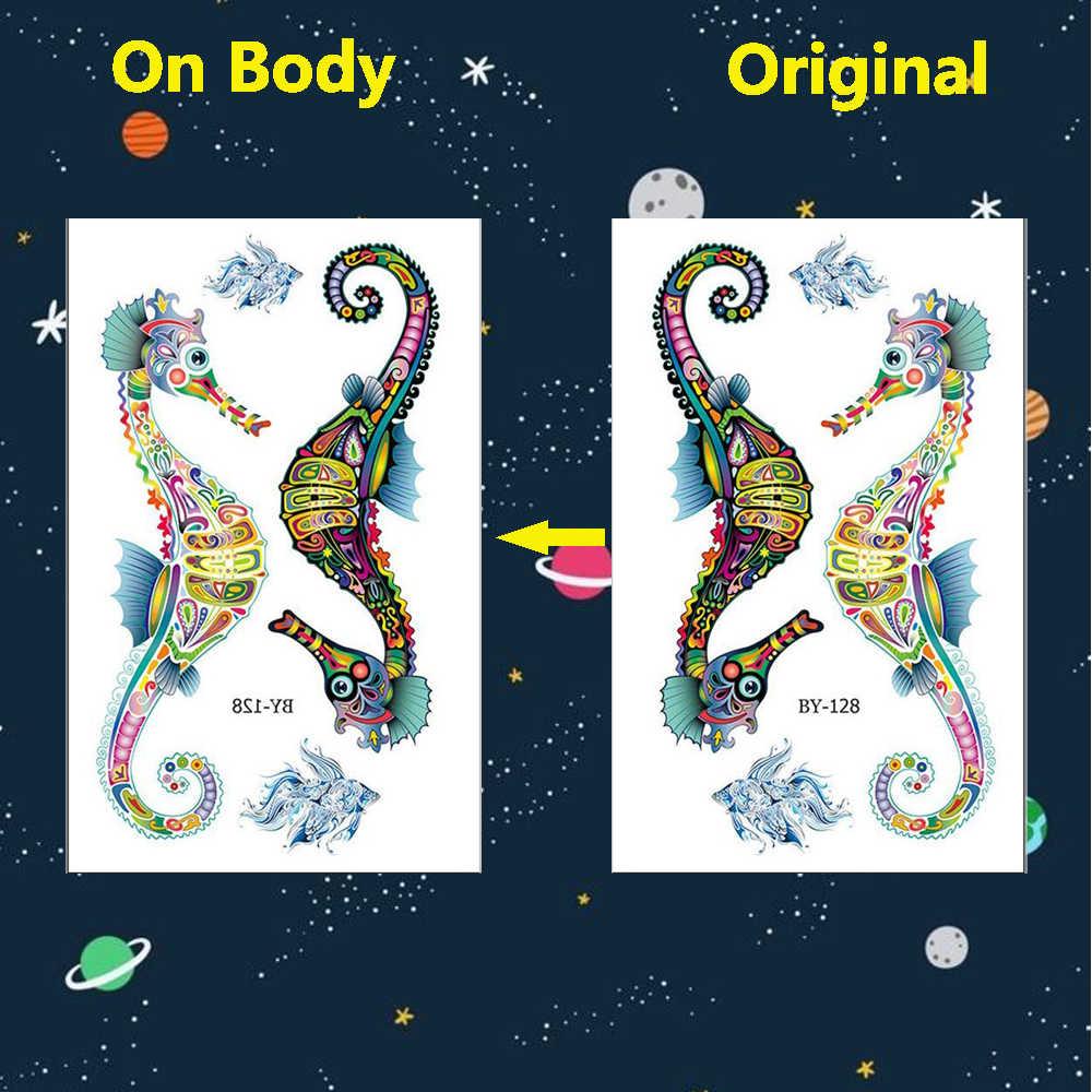 Colorido Gecko gato tatuajes temporales hombres mujeres escorpión brazo hipopótamo arte tatuaje pegatinas escorpión transferencia de agua Tatto caballo de camello