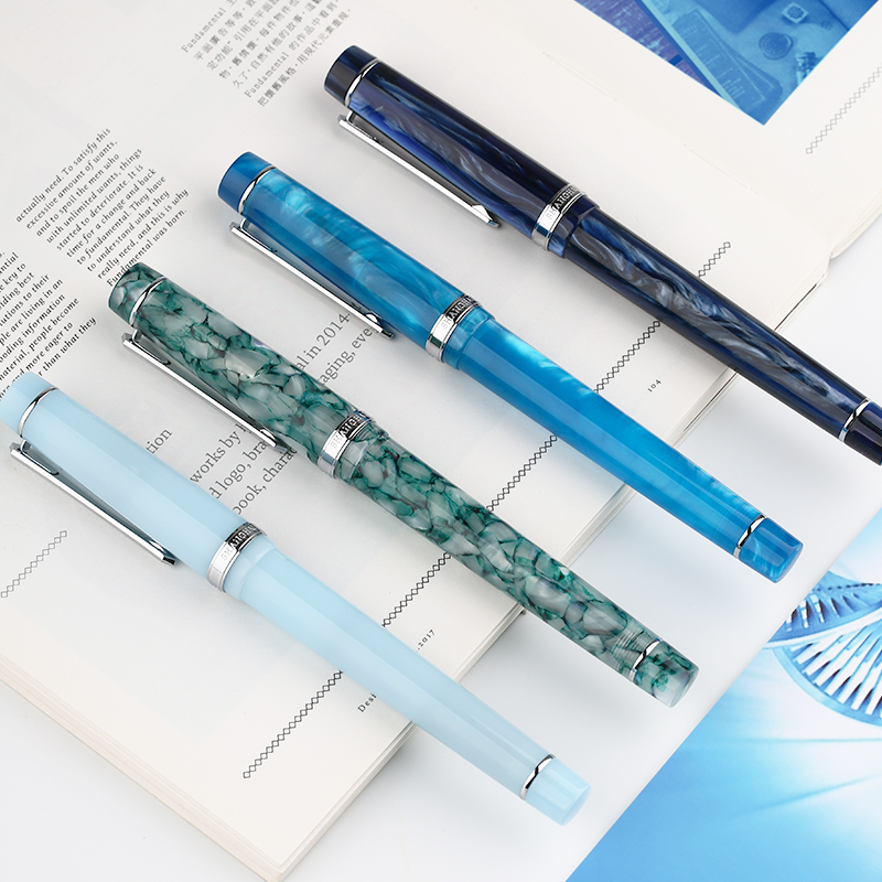 Penbbs 352 Acrylic Resin Fountain Pen Extra Fine Nib EF0.38mm F0.5mm Writing Student School Office Ink Pens Stationery Supplies