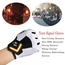 Outfit Road-Bike Riding-Gloves Bicycle Outdoor Women for Warning-Light Intelligent Led-Turn-Signal
