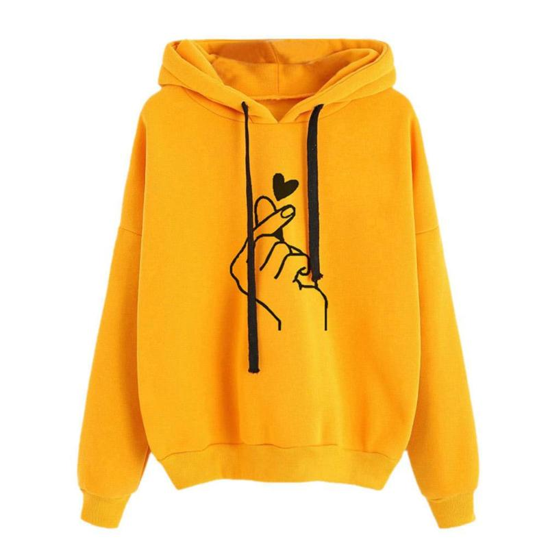 Fashion Hoodies Casual Cute Finger Heart Print Women Long Sleeve Hoodies Drawstring Loose Daily Basic Sweatshirt Female