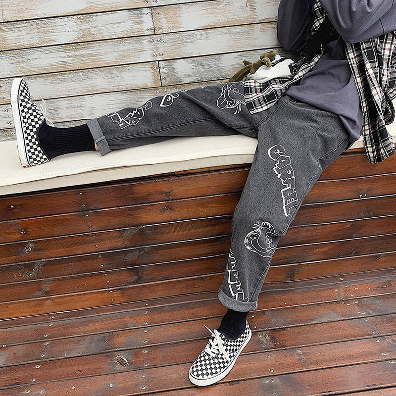 Image 3 - 2019 Mens Lovers Cartoon Printing Baggy Homme Casual Pants 