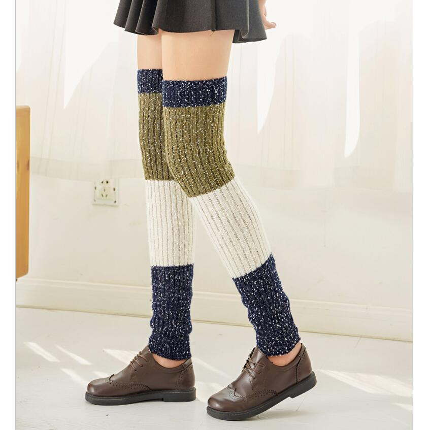 Women Solid Striped Tweed Yarn Leg Warmers Thick Knitted Ribbed Over Knee Long Leg Warmers Winter Warm Sock Girls Long Boot Sock