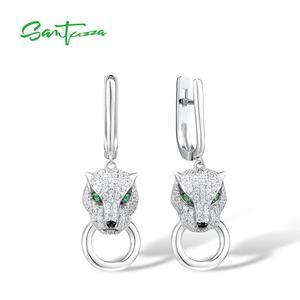 Image 1 - Boucles doreilles en argent SANTUZZA pour femmes pur 925 en argent Sterling boucles doreilles panthère longue zircon cubique brincos bijoux fins