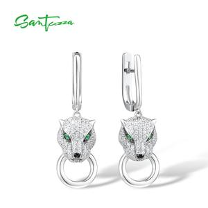 Image 3 - SANTUZZA Silver Jewelry Set For Women Pure 925 Sterling Silver Trendy Panther Ring Earrings Pendant Set White CZ Fashion Jewelry