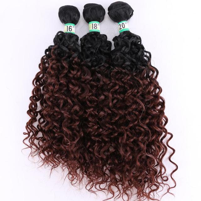 FSRHAIR pelo ondulado negro a marrón, mechones de pelo sintético degradado, 210 gramos/lote