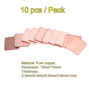 10pcs 15mm*15mm 0.3/0.4/0.5/0.8/1.0mm Heatsink Thermal Conduct Copper Shim Thermal Pads for Laptop IC Chipset GPU CPU Cooling(China)