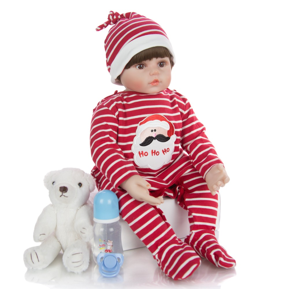 very cute boy Reborn Baby Dolls with Red striped clothes 60cm Bebe Alive Kids Playmate Lifelike Toddler Realistic Play Toys Gift