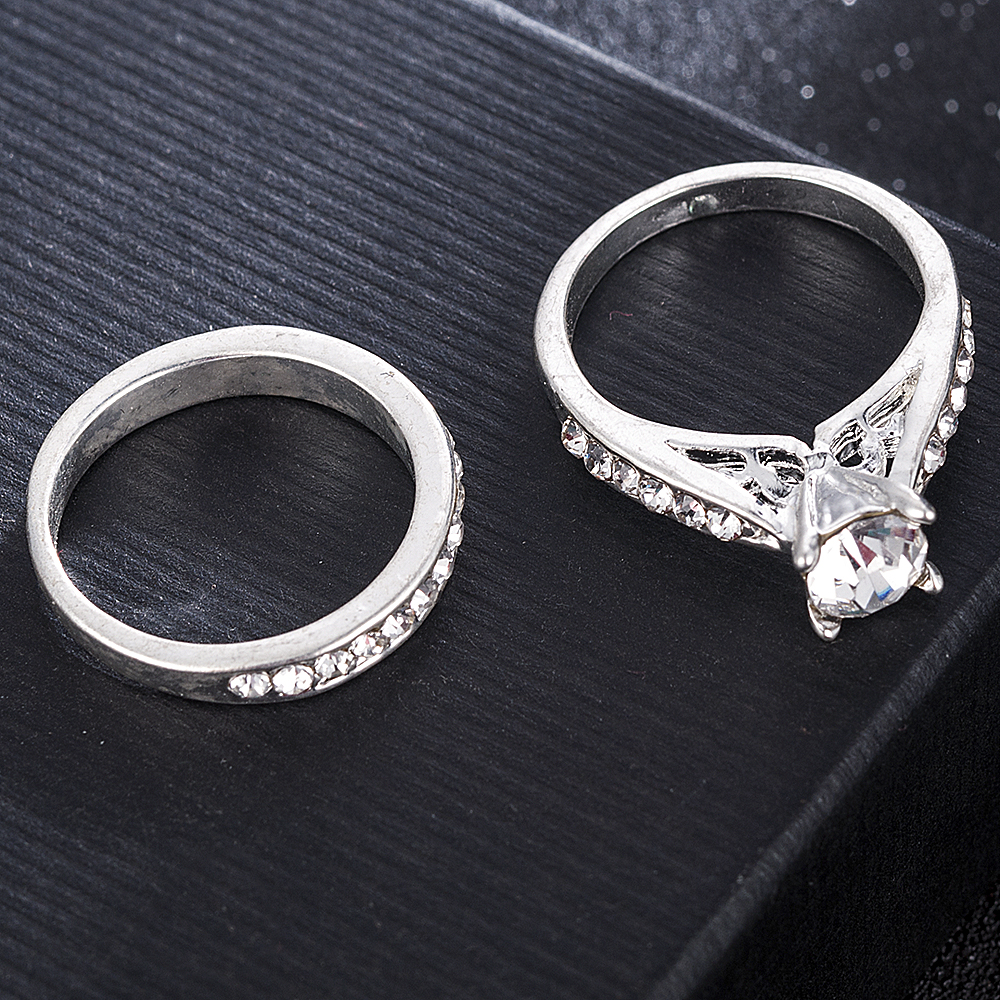 2Pcs/set Charm Lovers Ring Bijoux Femme Fashion Jewelry Bijoux Crystal Engagement Wedding Rings For Women Men Anel 2