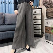 TVVOVVIN 2020 nueva moda de primavera y verano plisada ropa vintage de cintura alta plisada de longitud completa recta pantalones sueltos WK67618