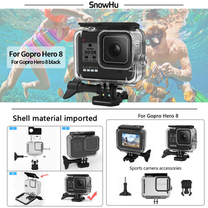 Image 5 - SnowHu for Go Pro Hero 8 45m Underwater Waterproof Case Diving Protective Cover Housing Mount for Gopro 8  Black Accessory GP801