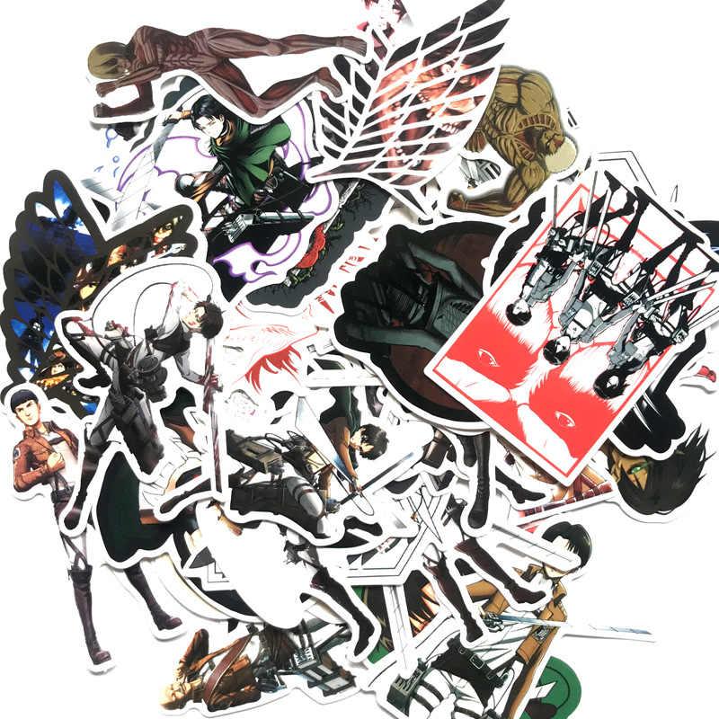 42 개/몫 타이탄 mikasa에 일본 애니메이션 공격 Levi Eren 스티커 방수 자동차 전화 수하물 노트북 자전거 데 칼 스티커