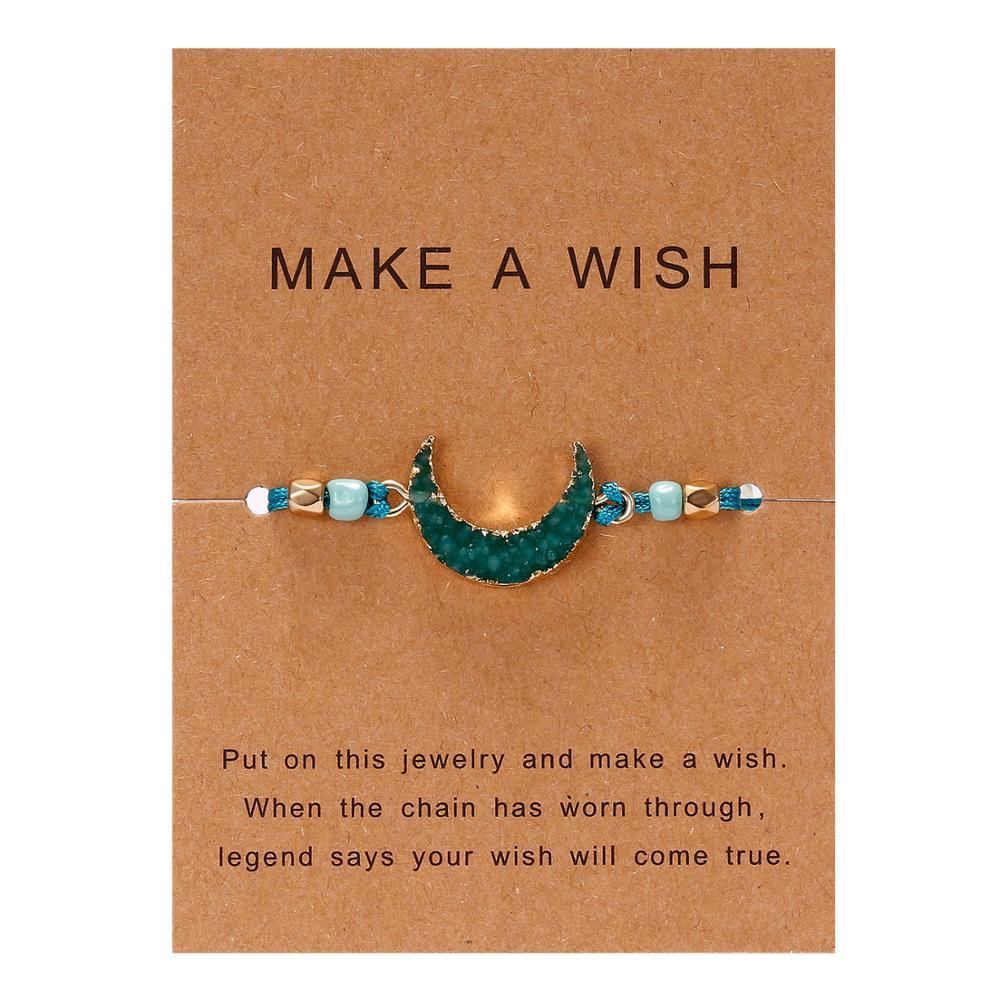 Для женщин браслеты на удачу бисера красная строка натуральный камень ткань браслеты мужчин ручной работы интимные аксессуары с карты - Окраска металла: green moon