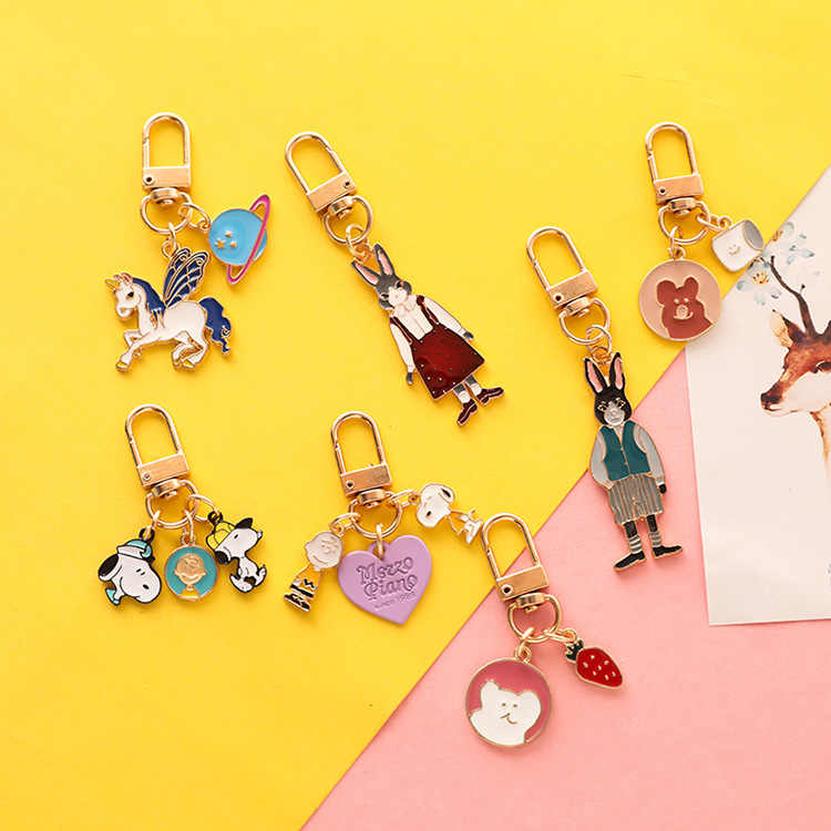 Lovely Anime Cartoon Cat Key Chains Cute Fox Mermaid Watermelon Pendant Keyring