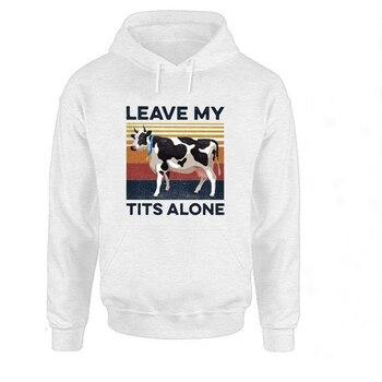 Leave My Alone Sweatshirt  Vintage Oversized Hoodie Plus 2020 Casual Pullovers Print Womens Clothing Women Streetwear Cow women black white dairy cow print oversized sweatshirt plus size streetwear casual hoodies jumper top loose pullovers