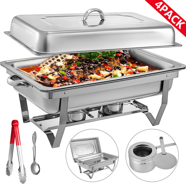 Chafing Dish 4 Packs 9L Stainless Steel Chafer Rectangular Chafers for Catering Buffet Warmer Set with Folding Frame