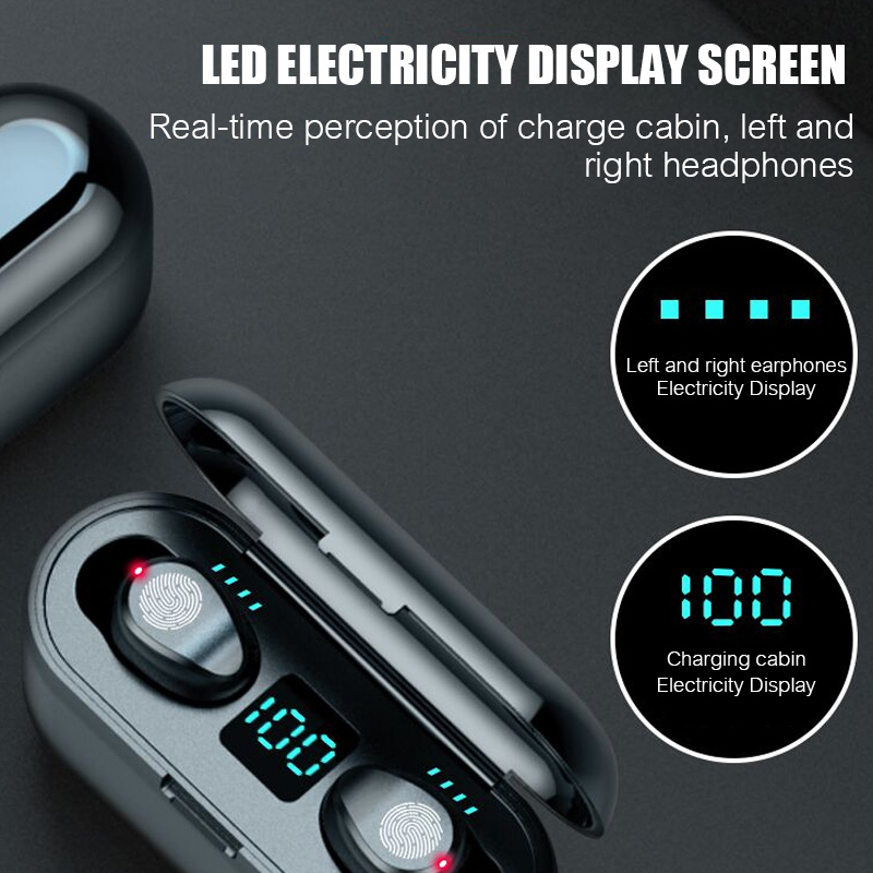 MLHJ F9 Wireless Headphones Bluetooth 5.0 Earphone TWS HIFI Mini In-ear Sports Running Headset Support iOS Android Phone HD Call 2