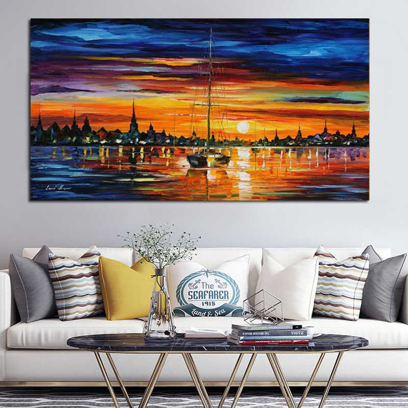 Canvas Painting Modern Palette Knife Sea view sailboat Oil Painting Wall Pictures for Living Room Cuadros Home Decor Unframed