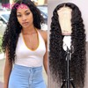 Recool 4x4 zamknięcie koronki peruka głęboka koronkowa fala przodu peruki z ludzkich włosów brazylijski kręcone ludzkie włosy peruka 200 gęstości 360 koronki przodu peruka