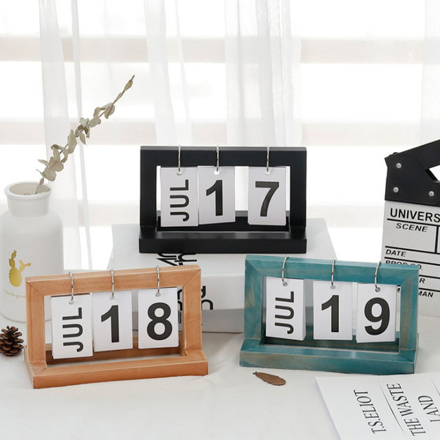 Office Wooden Vintage Home Calendar Cafe Desktop Decorative Rustic Ornaments DIY Flip Daily Planner Table Planner Calendar 4