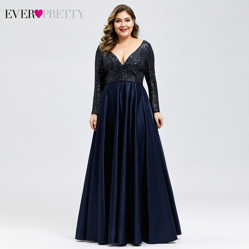 Plus Size Sequined Prom Dresses Long Ever Pretty A-Line Deep V-Neck Full Sleeve Sexy Satin Formal Party Gowns Robe De Soiree