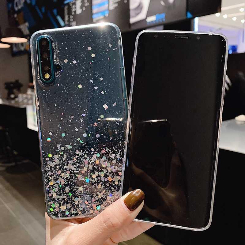 Dành Cho Huawei P20 P30 Giao Phối 10 20 Nova 3i 4 5I Honor 8X9 10 20 Lite Pro V10 v20 Lấp Lánh Kim Sa Lấp Lánh Trong Suốt Silicone Mềm TPU Bao