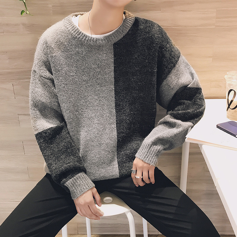Winter Sweater Men's Warm Contrast Color Stitching Casual Knit Pullover Man Wild Loose Long-sleeved Sweater Male Clothes