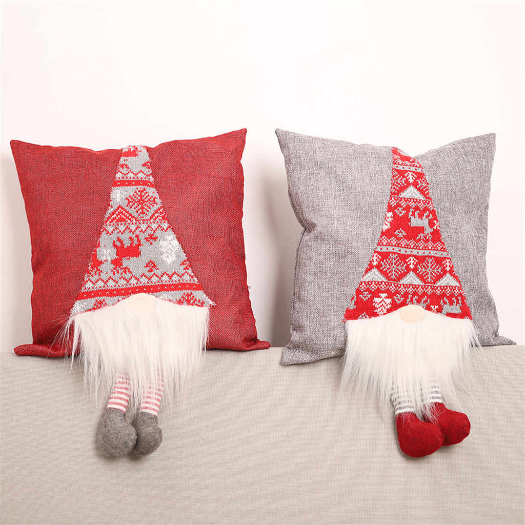 Stereo Imitation Linen Cushion Pillow Cover Living Room Decor Christmas Pillowcase Faceless Doll Home Christmas Decorations
