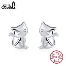 Effie Queen 100% 925 Sterling Silver Cute Cat Shape Stud Earrings for Women AAA Cubic Zircon 2 Colors Earring Jewelry TSE107